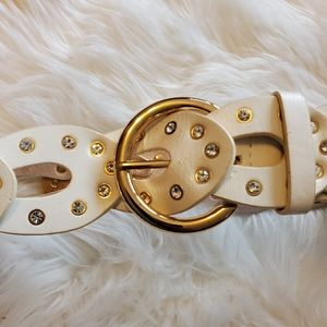 White Leather Belt with Chrystals